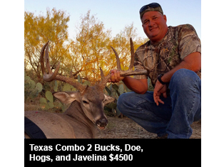 Texas Combo 2 Bucks, Doe, Hogs, and Javelina